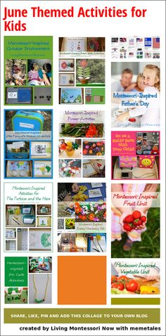 LOTS of ideas for Montessori-inspired unit studies along with calendar observances for a variety of ages throughout June