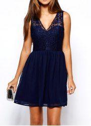 Trendy Sleeveless V-Neck Lace Splicing Wide Hem Women's Dress