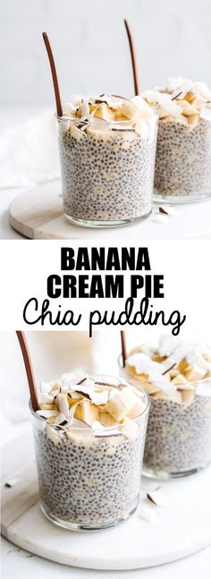 This banana cream pie chia pudding is healthy and loaded with banana and coconut flavour! Make this chia pudding for a delicious vegan and gluten-free treat!