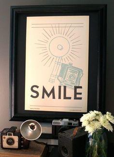 Smile Handprinted Letterpress Poster