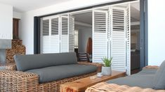Use AMERICAN shutters instead of burglar bars. Clean lines, modern simplicity and an abundance of style characterises this stunning Kalk Bay house. The Gear Tilt Security Shutters by AMERICAN shutters® added the finishing touch. Living At Home, Living Spaces, Living Area, American Shutters, Traditional Shutters, Burglar Bars, Louvered Shutters, Outdoor Awnings, Blinds Design