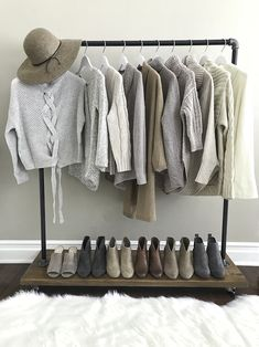 wardrobe rack chunky knit sweaters closet clothing rack ankle booties