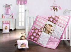 Girls Monkey Crib Bedding Girls Monkey Crib Bedding one of the cutest and playful themes for a baby girl's nursery. Monkey themes are very popular today Monkey Baby Rooms, Monkey Nursery, Monkey Girl, Monkey Bedroom, Girl Nursery, Nursery Room, Nursery Decor, Room Decor, Baby Girl Bedding Sets