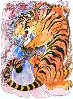 Tiger In Cherries Painting  - Jenn Cunningham
