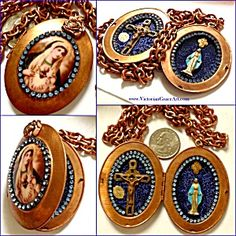 $159 sale! Gorgeous HUGE vintage copper reliquary necklace featuring Virgin Mary and Jesus Christ. The front features a porcelain oval cameo cabochon o...