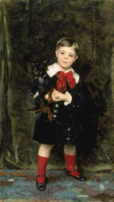 Robert de Cévrieux, 1879, oil on canvas, 84.5 x 48 cm (33.25 x 18.875 in.), inscribed lower L: John S. Sargent, 1879. Museum of Fine Arts, Boston. The Salon of 1879 was a watershed for JSS's artistic career. Out of it came 6 portrait commissions in Paris including presumably this of a 6-year-old and his terrier. Carolus-Duran, by now JSS's former teacher, painted children holding pets which were exhibited in mid-1870s Salons. The child wears a velvet suit with no pant legs and matching…