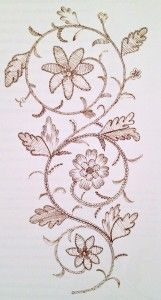 18th century embroidery pattern, from 18th Century Embroidery Techniques by Gail Marsh (2006).