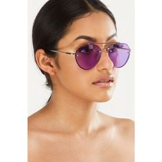 Just Because Lens Sunnies ($15) ❤ liked on Polyvore featuring accessories, eyewear, sunglasses, imitation sunglasses, purple aviator sunglasses, purple sunglasses, purple lens sunglasses and rock glasses