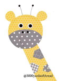 Giraffe Nursery Artwork Print Baby Room by Applique Patterns, Applique Quilts, Applique Designs, Quilt Patterns, Yellow Nursery Decor, Baby Nursery Decor, Nursery Artwork, Kids Room Wall Art, Quilt Baby