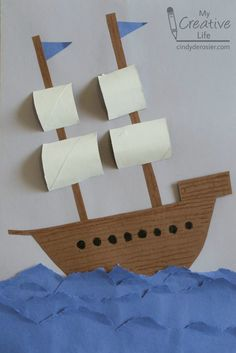 Paper ship craft.  Great for Columbus Day or as a Mayflower in November.