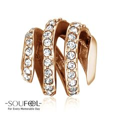 Soufeel Rose Gold Spiral Crystal Charm 925 Sterling Silver, for every memorable day. The charm fits all bracelets.