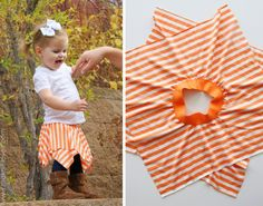 Cute and Easy DIY Double Layer Square Circle Skirt...Good for a pirate skirt for Halloween! So cute for a little girl or even an adult