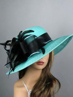 Turquoise Hat Churche Kentucky Derby Hat Wedding Hat Feathers Turguoise Coctail Hat