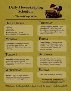 Daily Housekeeping Schedule from Time-Warp Wife. I think I could do this House Cleaning Tips, Diy Cleaning Products, Cleaning Solutions, Spring Cleaning, Cleaning Hacks, Weekly Cleaning, Cleaning Schedules, Cleaning Checklist, Organizing Tips