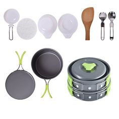 FAMELEY Camping Cookware Mess Kit, Lightweight Durable and Compact Backpacking Cooking Kit Include Pots Bowls Pans(11 items) For Camping / Backpacking / Hiking / Trekking *** This is an Amazon Affiliate link. Want to know more, click on the image.