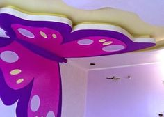 purple modern false ceiling with lights for kids room