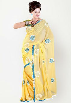 Rachna Embellished Yellow Saree