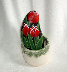 Tulip red summer garden decor Dads garden, hand painted rocks by RockArtiste on Etsy, $40.00