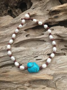 Turquoise, Pearls and Leather Necklace. Turquoise and Pearls is ALWAYS a popular…
