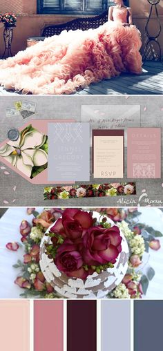 The Deco Floral wedding invitation suite is a nod to art deco design mixed with dark florals and soft, ethereal papers. White ink printing on dusty blues and mauves; vellum inner envelopes to give an extra dose of softness, and pops of deep, moody burgundies -- this suite is the perfect mix of feminine softness and modern simplicity.  Modern, soft, elegant, white ink, burgundy, simple, vintage, fall, winter, boho, bohemian, floral, romantic, magnolia, blush, blue, summer, garden, luxury…
