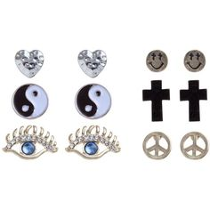 6pk Gold Cross, Peace And Heart Stud Earrings ($7.85) ❤ liked on Polyvore