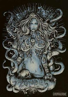 Illustration by Godmachine Fantasy Kunst, Dark Fantasy Art, Dark Art, Zombie Kunst, Zombie Art, Rob Zombie, Arte Horror, Horror Art, Art And Illustration