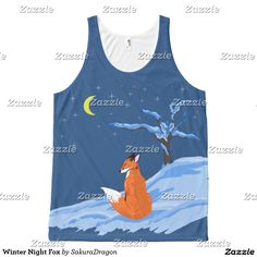Winter Night Fox All-Over-Print Tank Top #fox #foxes #animals #snow #moon