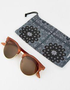 775598c010d9 ASOS Rounded Retro Sunglasses In Matte Brown - Brown Retro Sunglasses,  Sunglasses Sale, Polarized