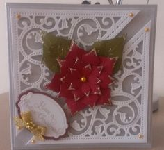 Christmas Card using Spellbinders Gold Elements and Poinsettia dies.