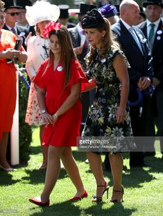 Princess Haya of Jordan (right) and daughter Sheikha Al Jalila bint Mohammad bin Rashid al Maktoum (left) during day four of Royal Ascot at Ascot Racecourse. (Photo by Steve Parsons/PA Images via Getty Images) Princess Haya, Royal Princess, Thanks My Friend, Royal Ascot, Dress And Heels, Royal Fashion, Dubai, Royalty, Daughter