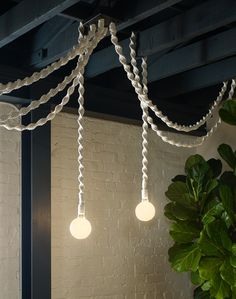 Shop our curated collection of gifts at Not On The High Street. Rope Pendant Light, Pendant Lighting, Chandelier, Rope Lamp, Macrame Projects, Macrame Patterns, Decoration, Bulb, Lights