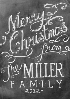 Custom Chalk Art for Christmas Cards