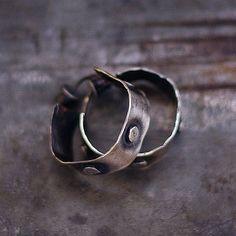 Raw sterling  silver studs hoop earrings by ewalompe