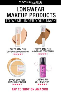 Here are 4 key products to wear when wearing a face mask! Maybelline's Super Stay Full Coverage Foundation is 24HR wear and stays put. When you don't want to do a full face, try the Super Stay Full Coverage concealer. This concealer is wateproof, smudge-proof and transfer-proof! Set your makeup with the Super Stay Full Coverage Powder for a look that will last all day. No makeup look is complete without the Lasting Fix Setting Spray! Spritz this on for a transfer-proof makeup look!