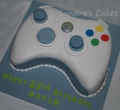 Picture doesnt really need any explanation, an XBox controller for David Birthday Cake For Son, Happy 27th Birthday, Boy Birthday, Birthday Cakes, Cupcakes, Cupcake Cakes, Bolo Xbox, Xbox Party, Game Party