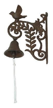 Cast Iron Floral Wall Mount Bird Bell