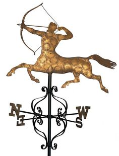 Centaur Weathervane - Probably A.L. Jewell & Company  Waltham, Massachusetts  1852–1867  Copper with gold leaf, with iron directionals  50 1/2 x 43 x 29 in. (with directionals)  American Folk Art Museum, gift of Ralph Esmerian, 2005.8.54