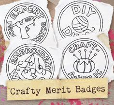 You've earned the highest distinctions in crafting, now show it off with a set of sassy merit badges; perfect for collecting on denim jackets, craft totes, and more! Designs download as PDFs; use pattern transfer paper to trace designs for hand-stitching.