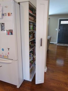 fold-out pantry; two shallow bookcases facing one another, essentially Decorating and Remodeling: Small Budget Pantry idea