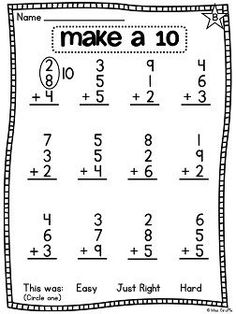 Number Bonds Missing Addends Printable Worksheets Math