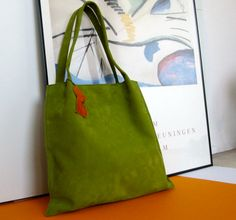 Leather Tote / medium shopper in olive green suede and a rust orange suede lining
