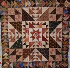 medallion quilt with flying geese attached | Flickr - Photo Sharing!