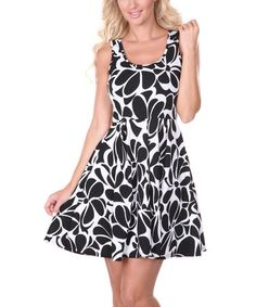Another great find on #zulily! Black & White Floral Skater Dress - Women by White Mark #zulilyfinds