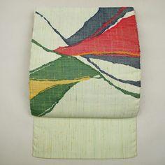 Multiple color, silk nagoya obi / 浅緑地に迫力ある抽象的な織り柄を施した八寸名古屋帯