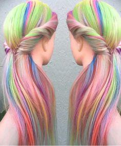 Rainbow pastel hair @hairbyliz_