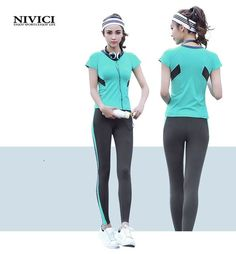 2017 New Brand Women Yoga Set Colorful 3Solid Colors T-shirt with Pants Female Yoga Suit Breathable Fitness Quick Dry Sportswear