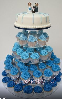 Blue wedding cupcake tower - maybe with a Tardis topper?