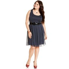 Ruby Rox Plus Size Dress, Sleeveless Polka-Dot Cutout Belted - Plus... ($79) via Polyvore
