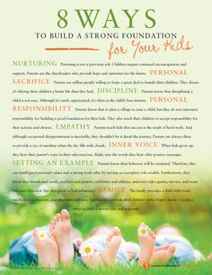 8 Ways to Build a Strong Foundation for Your Kids   Values to Live By   www.FrankSonnenbergOnline.com