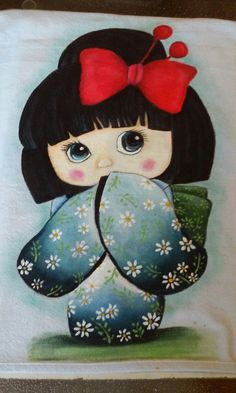 Asian Quilts, Arte Popular, Kokeshi Dolls, Fish Art, Disney Wallpaper, Anime Chibi, Craft Work, Fabric Painting, Colorful Pictures